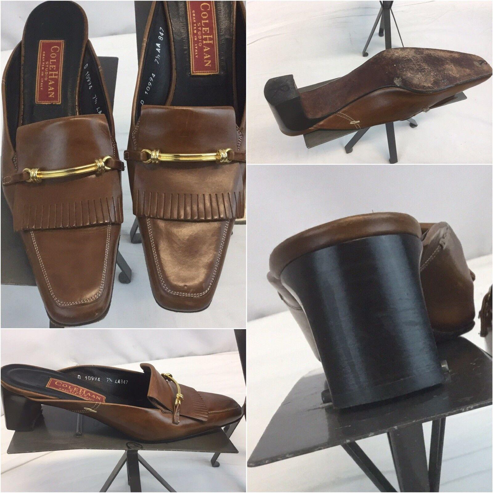 Cole Haan Studio Mules Slides shoes 7.5 AA Brown Horse Bit  Mint YGI L8S-4