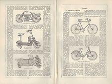 Lithografien 1926: Fahrräder. Fahrrad Velociped Velo Hochrad Kraft-Rad-Motor