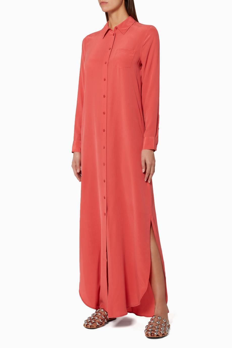 Maxi  vestido de camisa de seda EQUIPMENT Brett en Arándano Talla XS  en stock