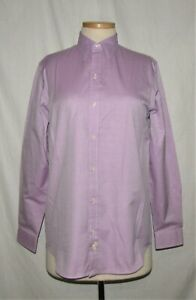 teal and purple 100/% cotton long sleeve blouse with buttons and bow size 46 Cool Mustard