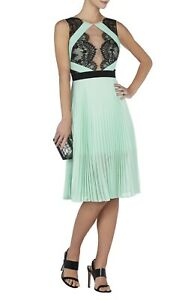 NEW-BCBG-MAXAZRIA-ARIANNE-SCALLOPED-EDGE-PLEATED-DRESS-IQI67C03-L296W-SIZE-4