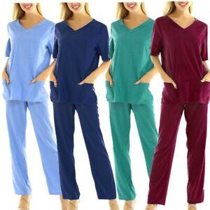 Unisex Medical Scrub Set Uniform Hospital Short Sleeve Top Long Pants Costume