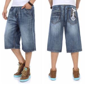 Mens-Jeans-Shorts-Denim-Shorts-Loose-Fit-StoneWash-Blue-Plus-Size-44W-46W-13L