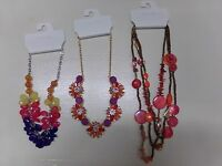 Lot Of 3 Beautiful Womens Color Necklaces Kohl's Rhinestones & Beads A