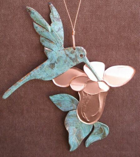 HUMMINGBIRD Copper Verdigris Christmas Ornament Handcrafted Arizona Southwest