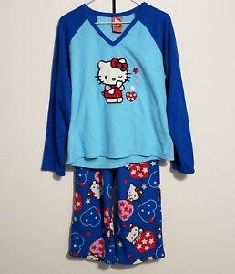 a034384e5 2008 Sanrio Hello Kitty Fleece Pajama SET Juniors Size LARGE blue   eBay