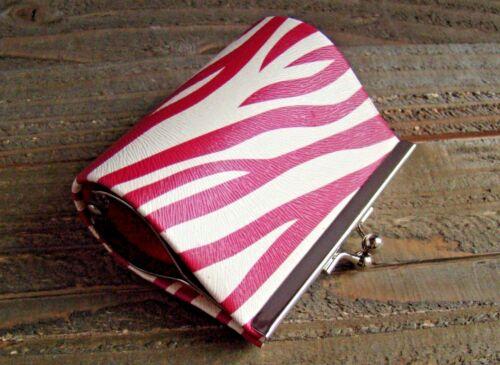 Coin Lipstick Purse Faux Leather Zebra Animal Print Pattern Clasp Kiss Lock