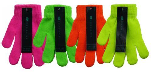 Kids Girls Boys Childrens Neon Bright Thermal Magic Stretch Gloves Winter Warm