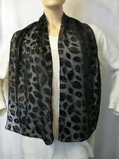 SCHAL Ausbrenner-Look Samt Blätter SCARF burn-out Velvet Leaves Schwarz