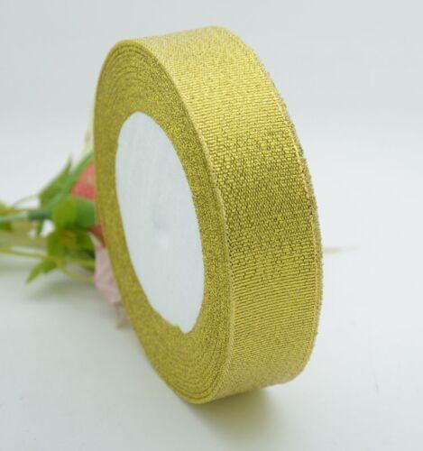 Sparkly Metallic Organza Ribbon Gold Silver Glitter Craft Christmas Weddings 25Y