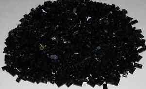 Lego Lot of 1000 New Black Plates 1 x 2 Dot Building Blocks Pieces Parts