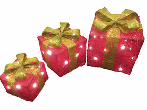 Details About 3x Led Light Up Glitter Birthday Presents Idea Gift Boxes Parcel Xmas Decoration