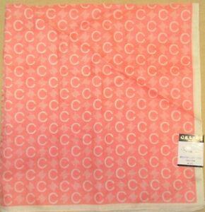 CELINE-Lightcoral-Orange-Logo-Style-Scarf-Large-Handkerchief-58cm-TEUCHIS-11