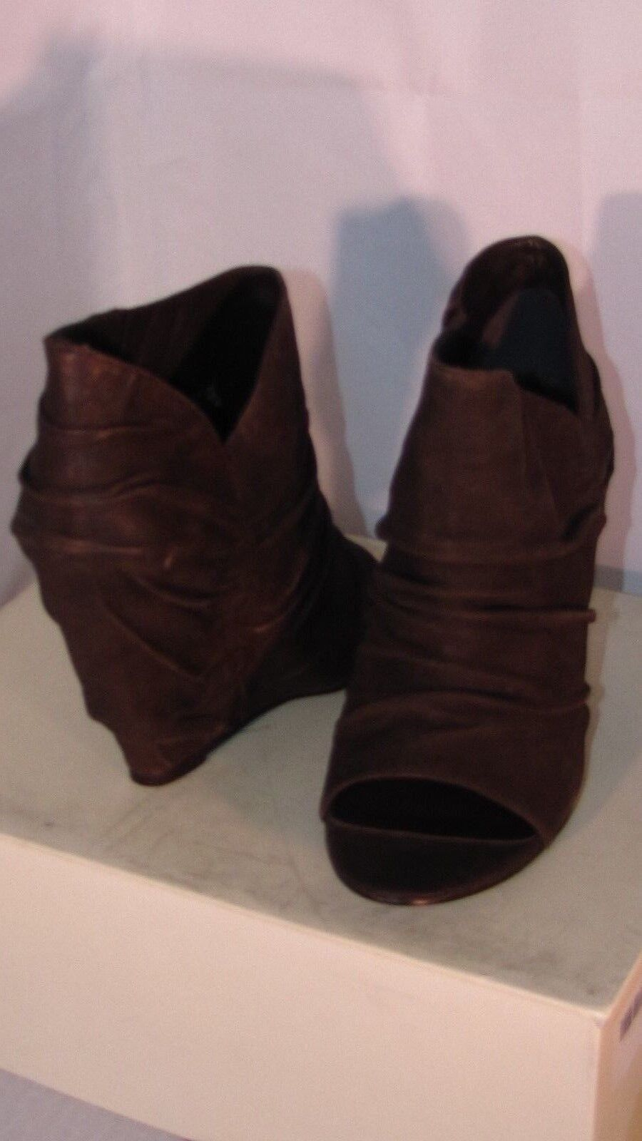 ELIZABETH AND JAMES STACK TOE LEATHER OPEN TOE STACK Stiefel Schuhe 375.00 NEW IN BOX  7.5 fc7629