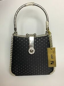 JCY Collection Small Evening Purse Metal Frame Handle Black Polka Dots Body NWT