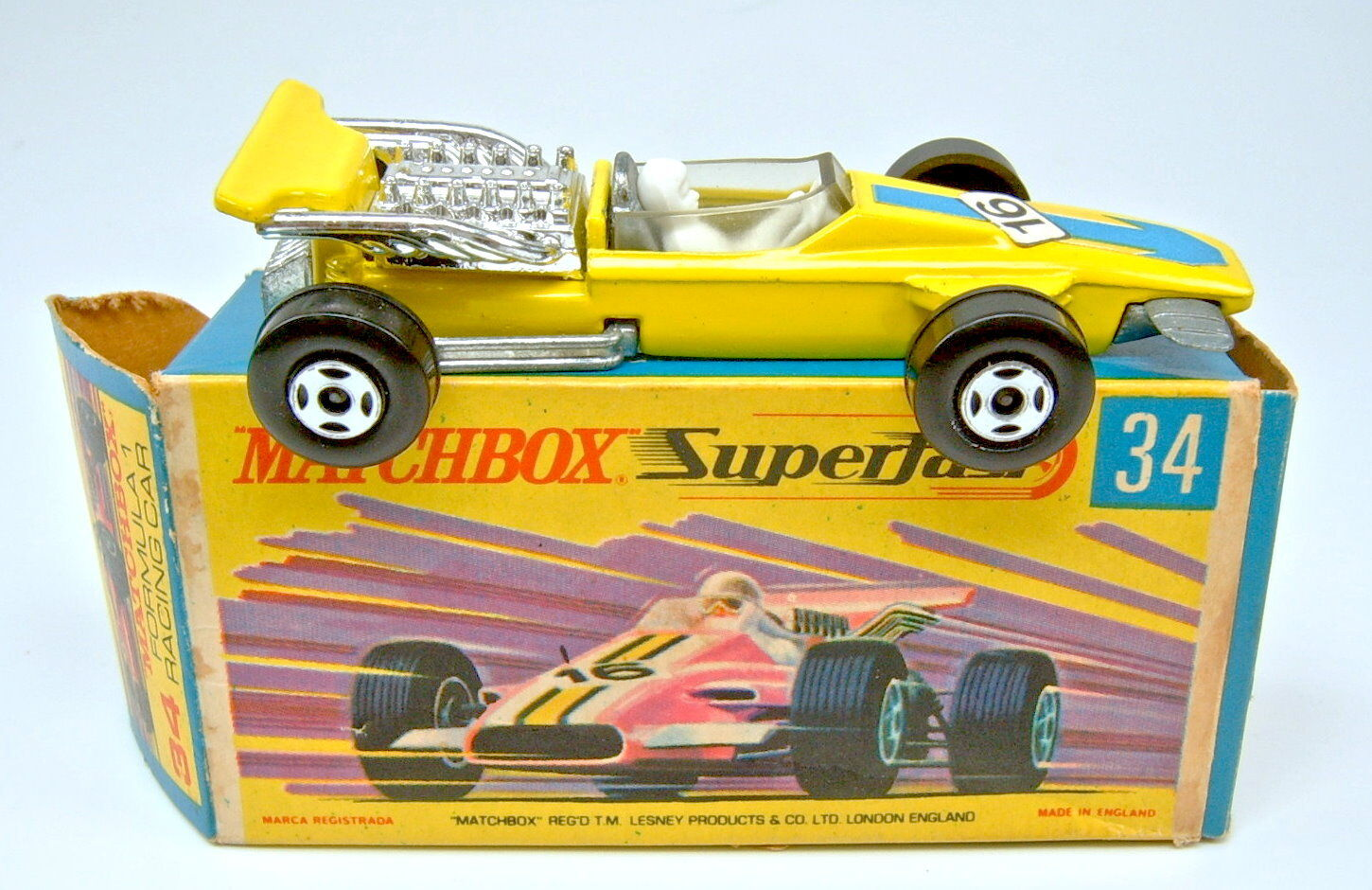 Matchbox SF Nr.33A Formula Racing Car yellow schmale Räder top in Box