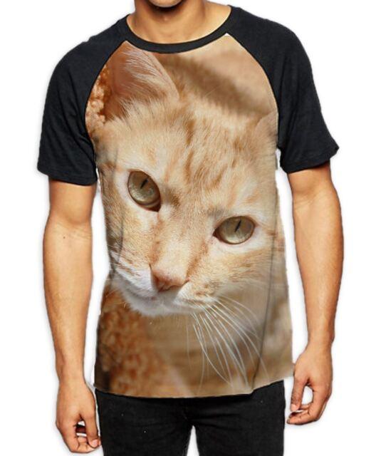 Ginger Cat Lying Down Mens All Over Baseball T Shirt