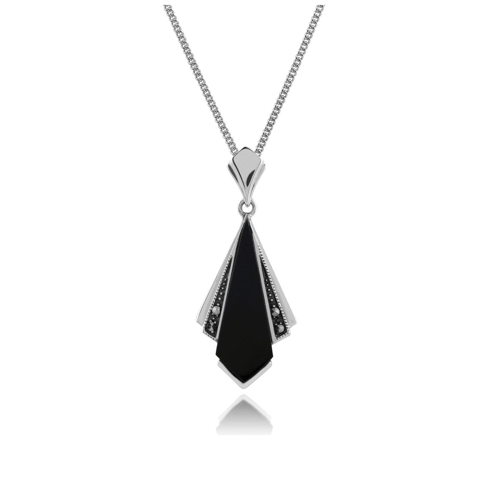 Gemondo silver Art Deco black Onice e Marcasite Ciondolo su 45cm Catenina