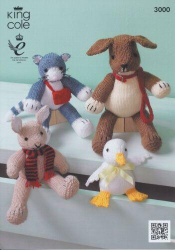 DK Aran patrón King Cole Conejo Pato Gato Perro Animales de punto 3000 caracteres
