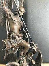 XL Bronzefigur Antik Stil Erzengel St. Michael Drachentöter Vintage 50 cm 9,2 Kg
