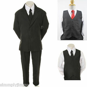 Boys Formal Black Tuxedo Vest Suit Set W Extra Red Tie 6 Pc Suit