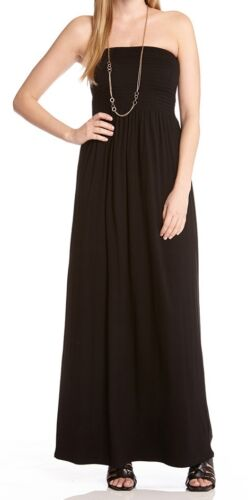 MSRP $98 Karen Kane L13232 Black Strapless Smocked Stretch Jersey Maxi Dress