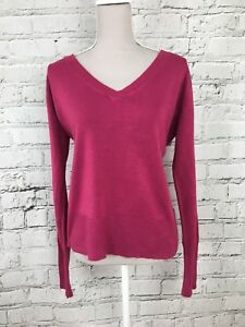 df8f9369712 Womens DOROTHY PERKINS Pink Long Sleeve V-Neck Thin Knit Jumper Size ...