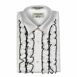 buy 60% clearance running shoes Details about RUFFLED Tuxedo Shirt NEW Mens White w/ Black SLIM FIT SH1801R