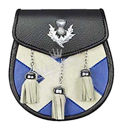 Details about  /CC Semi Dress Kilt Sporran White Bovine Thistle Crest Badge//Mens Kilt Sporrans