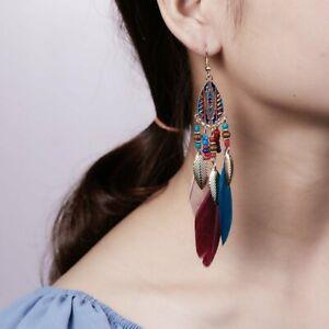 Boho-Bohemia-Jewelry-Beads-Feather-Beads-Hook-Drop-Dangle-Earrings-Women-Gift