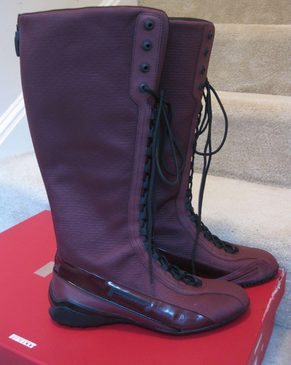 Pirelli PZERO Rosso Corsa Ladies Boots Size 7.5 Vino Color NWT Brand New w/Box