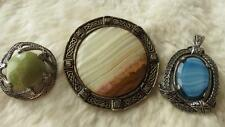Vintage Mixed x 3 Lot Sterling Silver Miracle Iona Marble Brooch Miracle Pendant