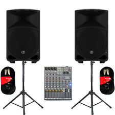 """Mackie THUMP12 Powered 12"""" Speakers Mixer Stands & Cables 2000 Watts THUMP12SET5"""