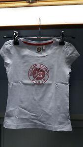 T-Shirt-Roland-Garros-Blanc-pour-Fille-4-5-ans-Excellent-Etat