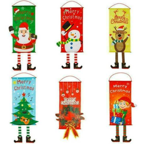 Merry Christmas Ornament Santa Claus Banner Flag Door Window Hanging Decor Fun