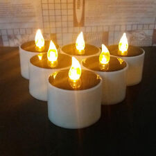 6pcs Solar Powered Led Candle Romantic Warm White Tea Light Wedding Decoration