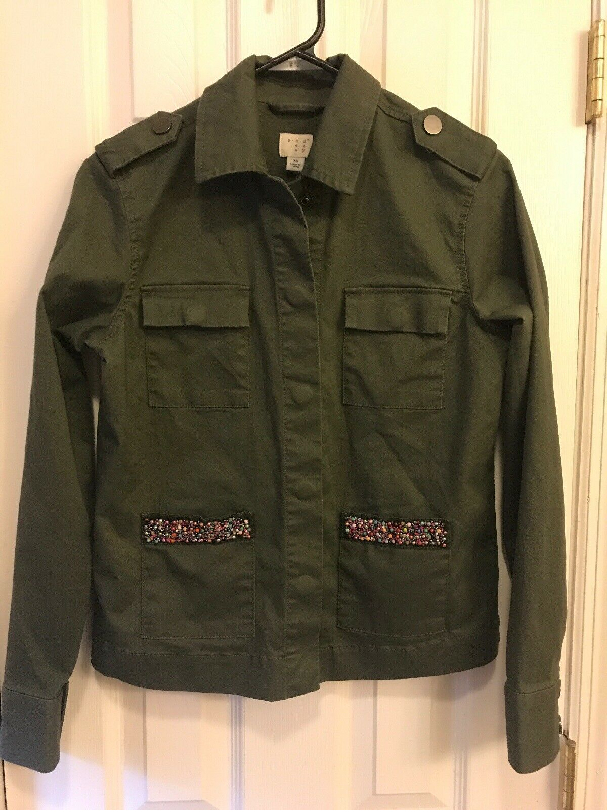 A New Day XS Women's Olive Twill Jacket With Beading