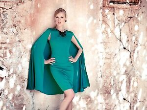 Carla-Ruiz-Green-All-In-One-Caped-Jacket-Dress-Size-12-Box6221-G
