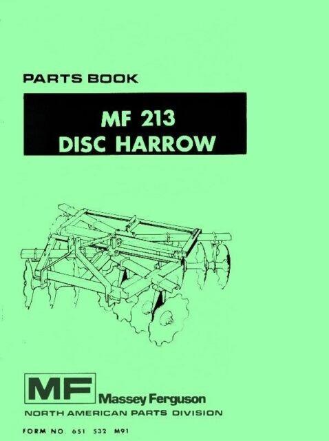Massey Ferguson Mf 213 Mf213 Disc Harrow Parts Manual Ebay