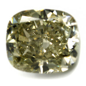 Details About 5 07 Cts Cushion Brilliant Diamond Fancy Gray Greenish Yellow Gia Loose Stone
