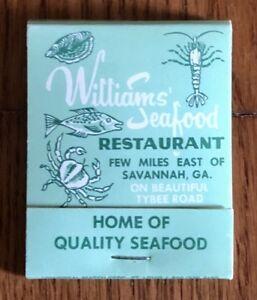 Details About Vintage Matchbook Cover Williams Seafood Restaurant Menu Savannah Ga