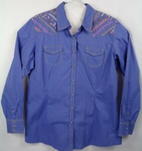 Ariat-Pearl-Snap-Fitted-Embroidered-Shirt-Women-039-s-Size-XXL-NWT