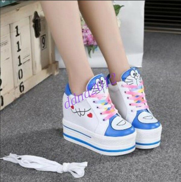 Women New Round Toe Super Platform Print Lace Up High Top Sneaker Creeper Shoes