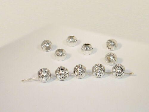 Aluperlen Metallperlen Kugel 10mm Silber 5 Stück #K323