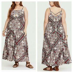 Details about Torrid Women\'s Maxi Dress Red Scarf Print Challis Plus Size  0X (BBB-6)