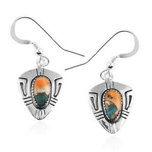 Santa-Fe-Style-925-Sterling-Silver-Spiny-Turquoise-Dangle-Drop-Earrings-Ct-0-8