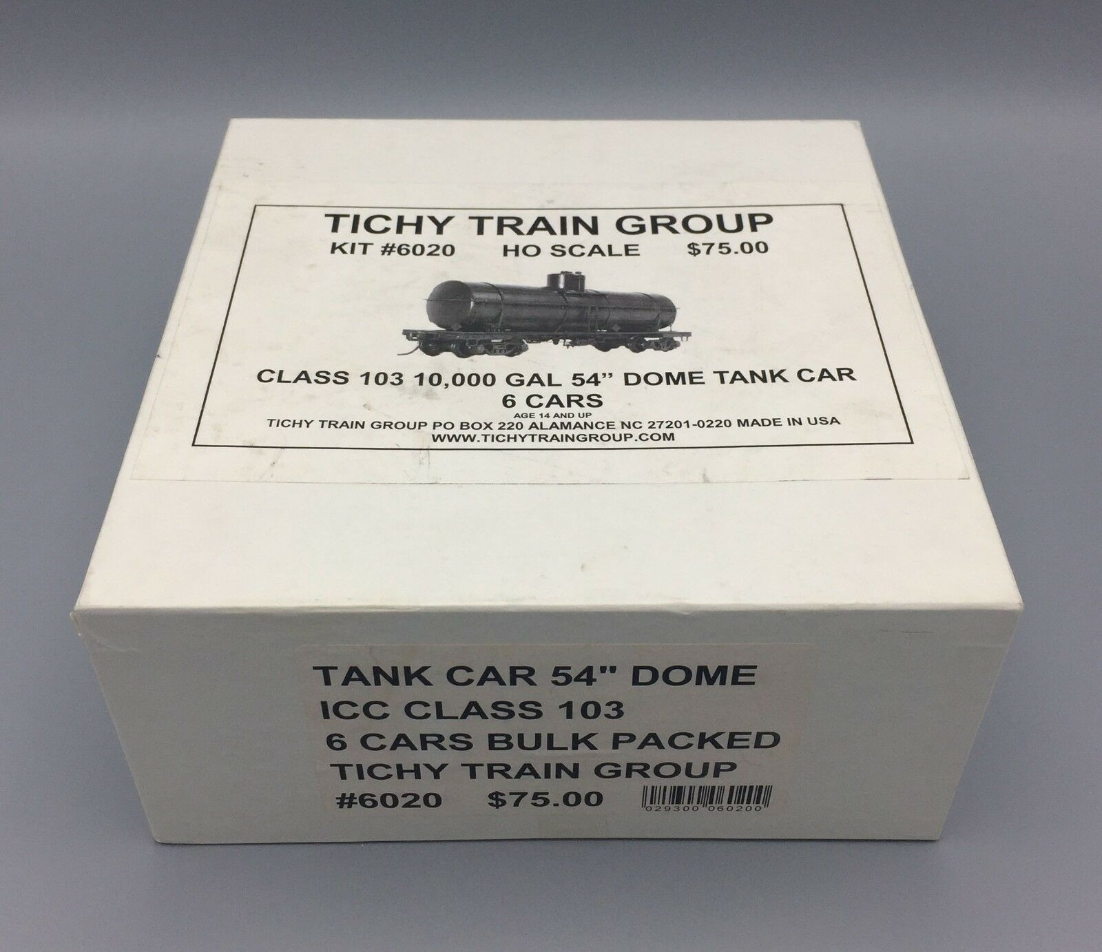 HO Tichy Train Group ICC Class 103 Tank voiture 54  Dome 6-Verpackung Item No.  6020