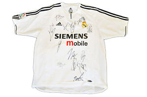 REAL MADRID JERSEY SQUAD GENUINE HAND SIGNED SHIRT FIGO ZIDANE RAUL ... 926523077
