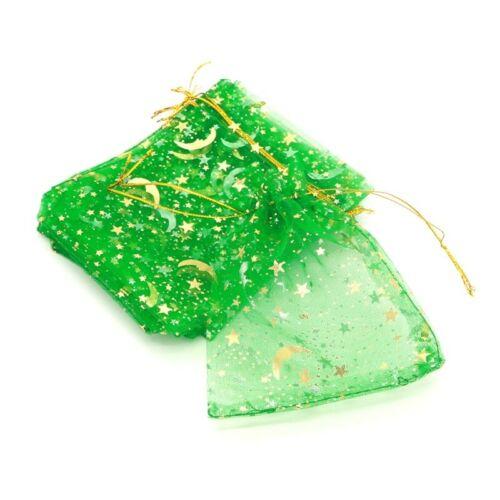 9x12cm Bolsas de Regalo Artesanía 10 X Verde//Oro Lunas /& Estrellas De Organza Caramelo Boda