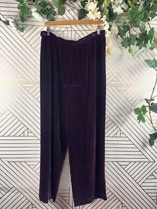 eileen fisher purple velvet pants flowy stretch waist size